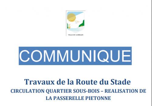 COMMUNIQUE | Travaux de la Route du Stade